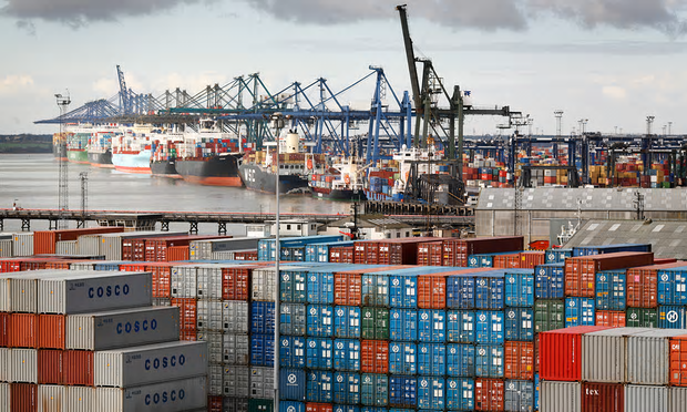 Felixstowe container port [Image: David Levene for the Guardian].