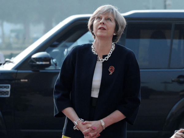 Theresa May in Delhi on Monday. She says she still intends to trigger Article 50 by March next year [Image: EPA].
