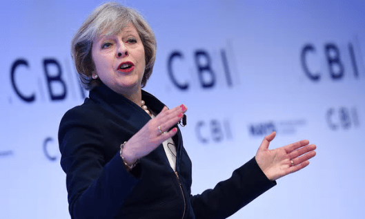 Theresa May U-turned at the CBI conference in London [Image: Andy Rain/EPA].