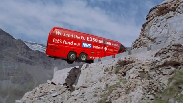 """Over a cliff: The Brexit bus, with all its claims of a new Golden Age for the UK, teeters on the edge. Boris Johnson, in the driver's seat, says: """"Boys? I've got an idea."""""""