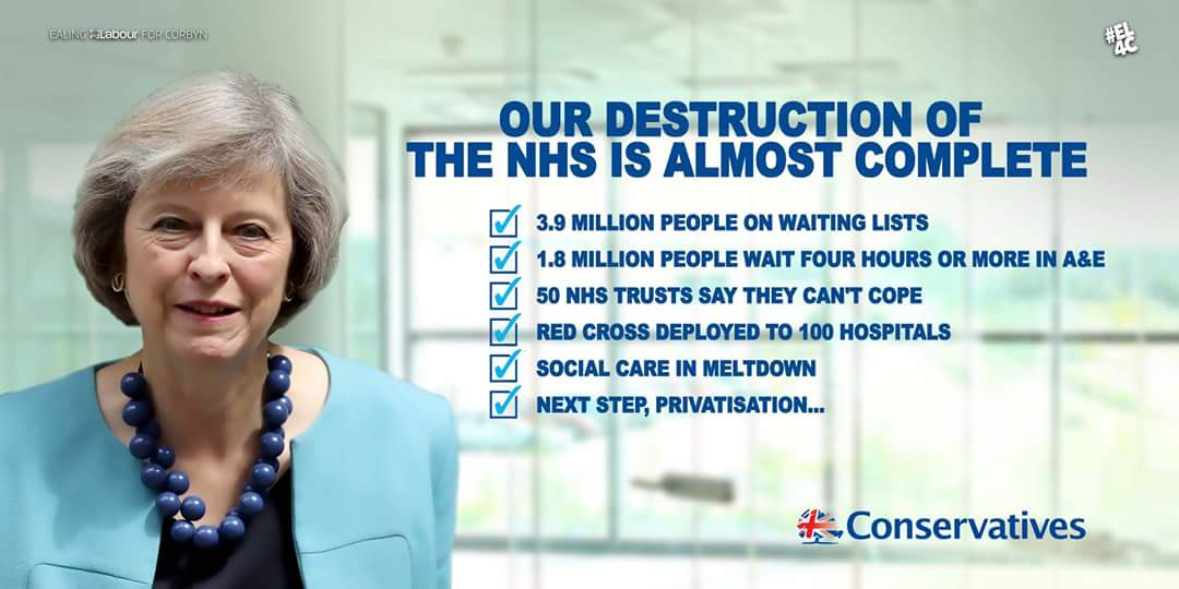 Image result for tory mp links to private healthcare poster photo