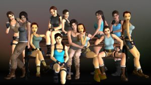 different character models of Lara Croft through the ages in various iterations of the Tomb Raider game