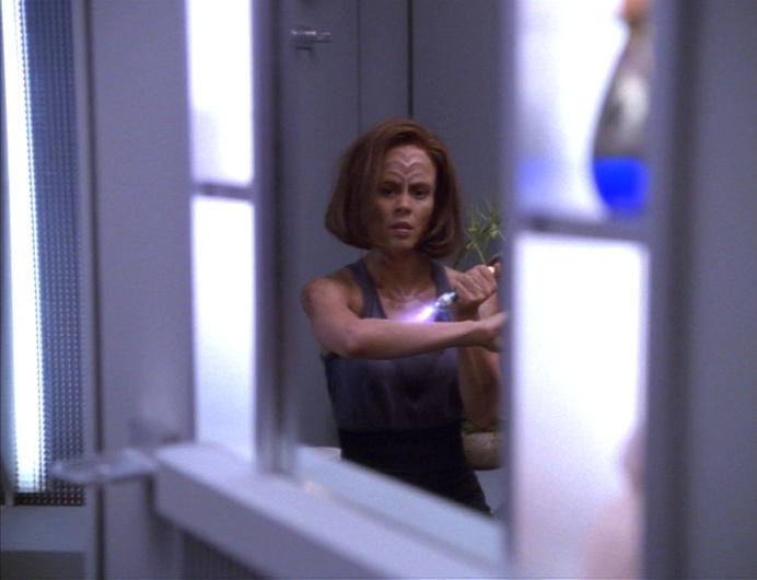 B'Elanna trying to hide the damage from one of her extreme holodeck sessions.