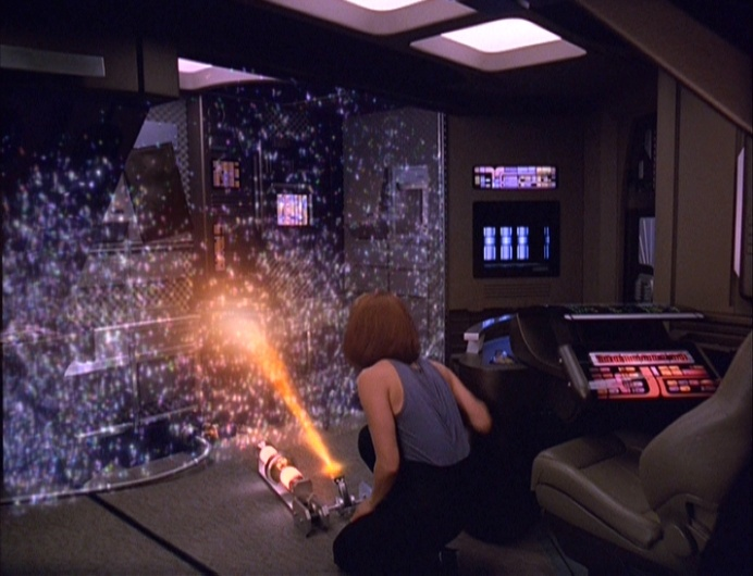 B'Elanna jury rigs a forcefield just in time.