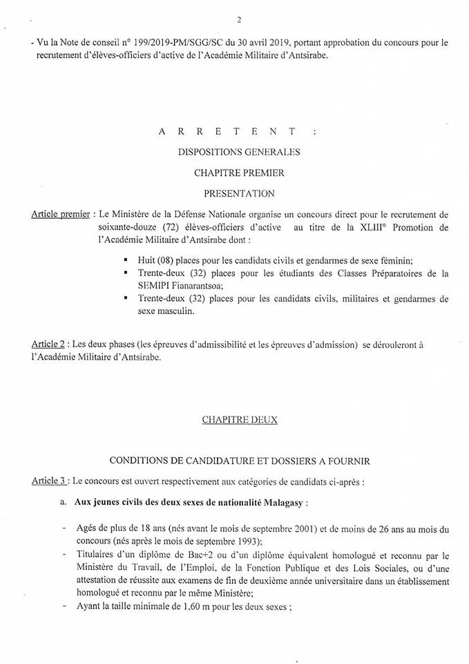 Concours acmil antsirabe