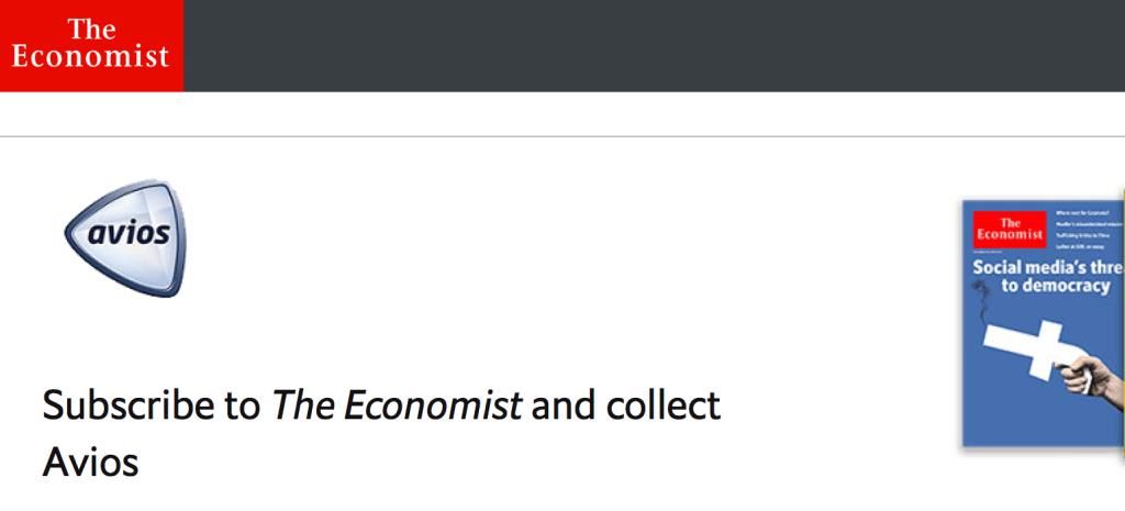 高級雑誌「The Economist」を購読してブリティッシュ・エアウェイズ(BA)のAviosを手に入れる(2018/5/31まで)