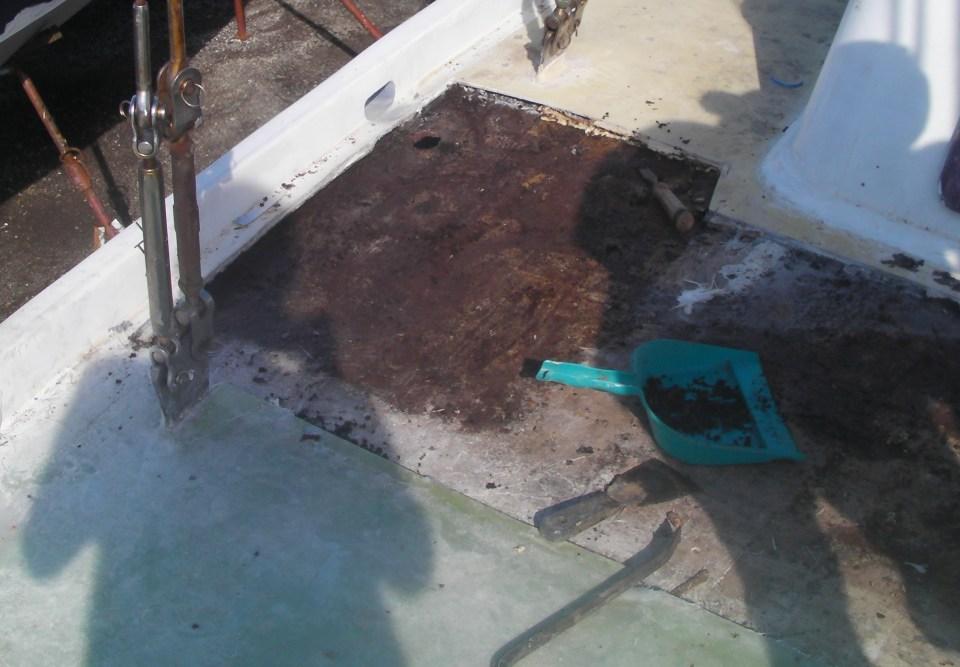 Tranche de pont nettoyé des termites sur tribord