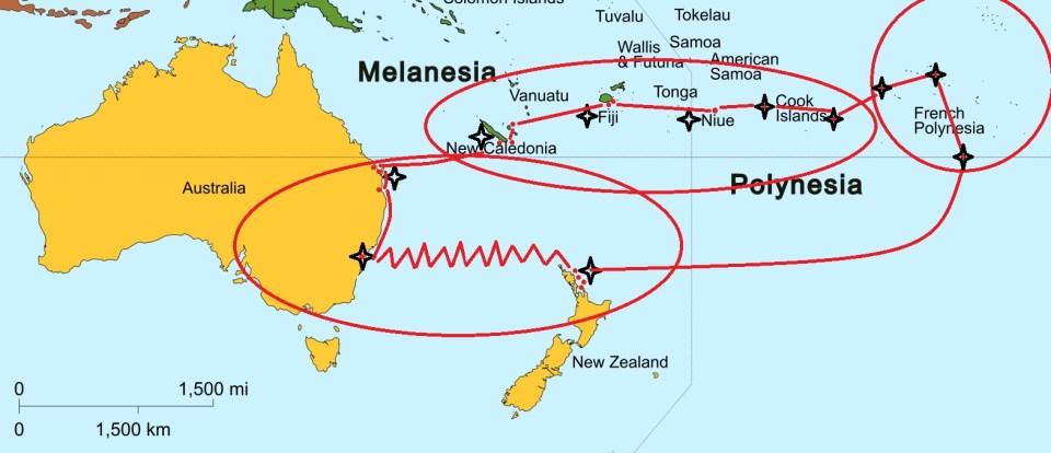 Carte trajets en Polynésie