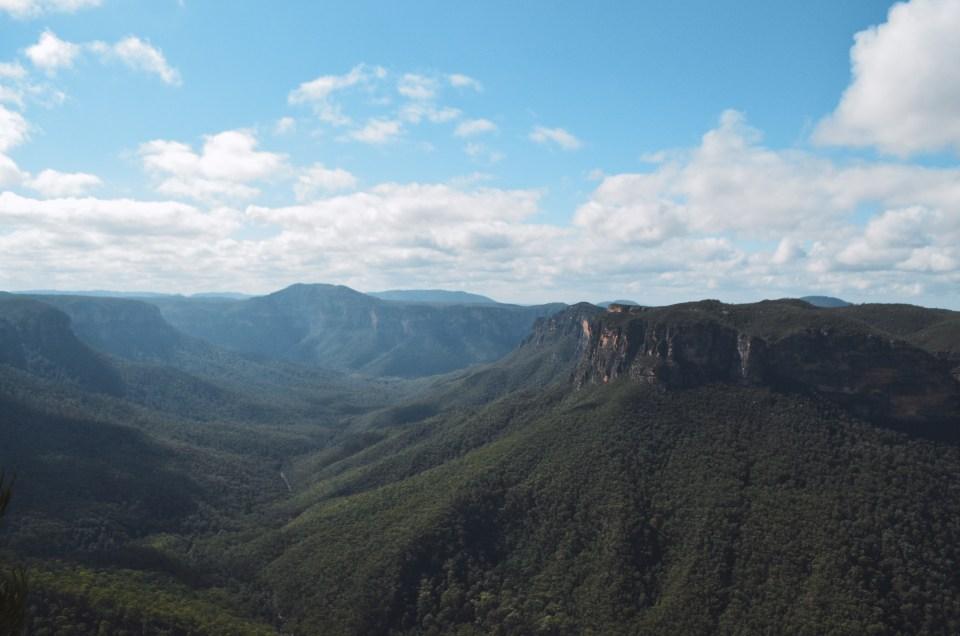 La vue depuis Evans Lookout des Blue Mountains