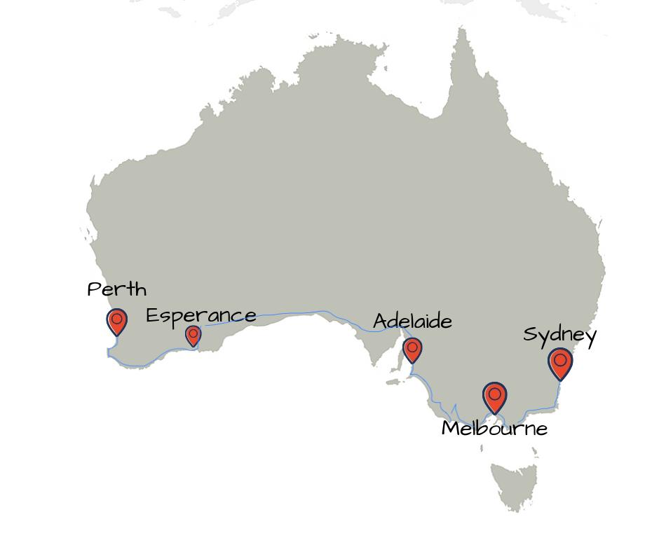 Itinéraire dans le sud de l'Australie