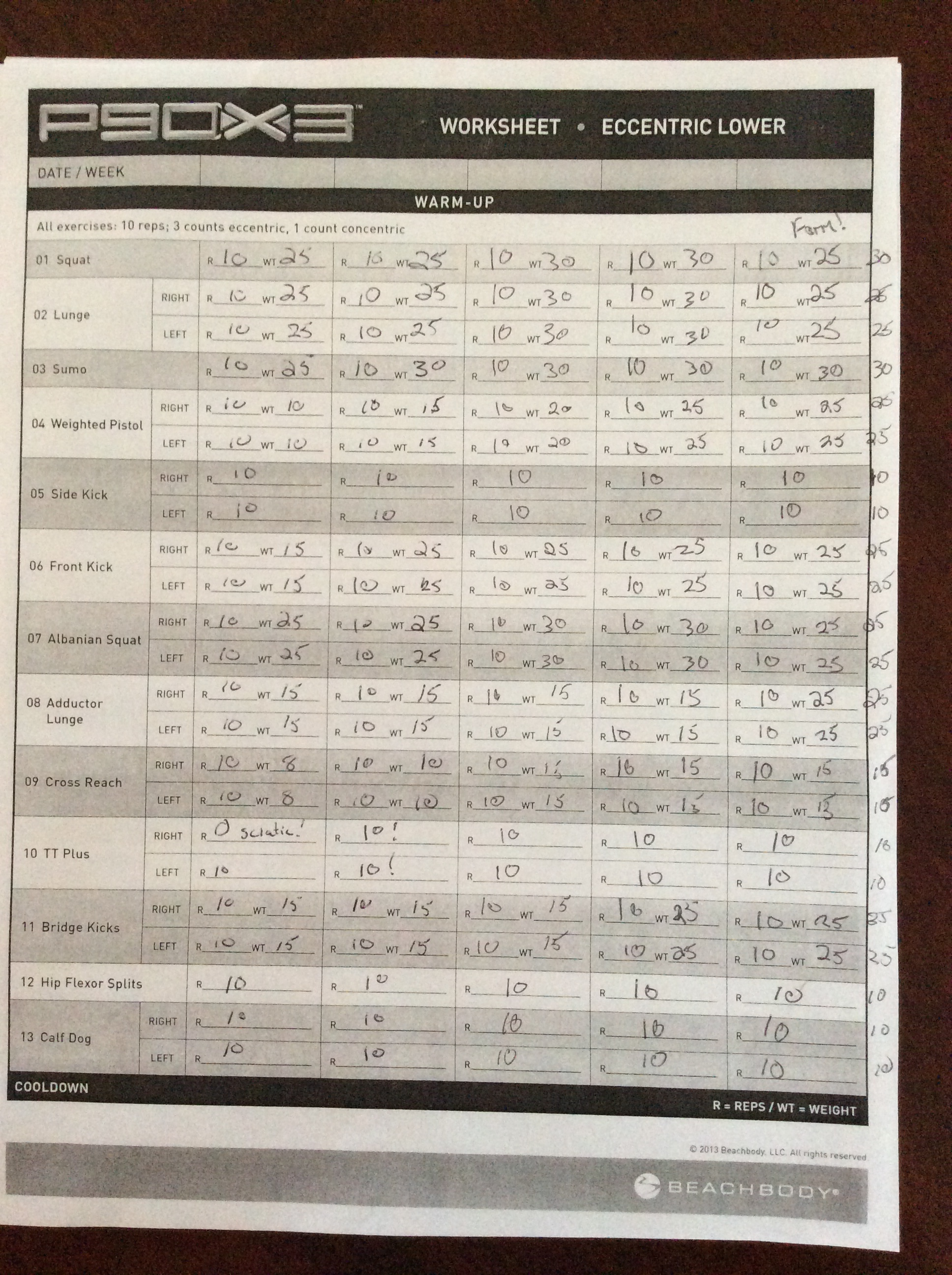 P90x3 Worksheet