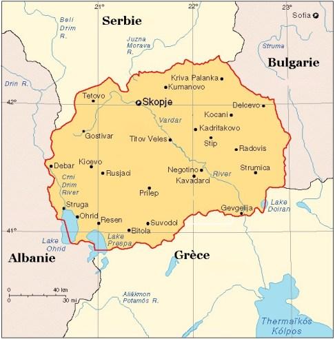 Carte de Macédoine (MK FYROM)