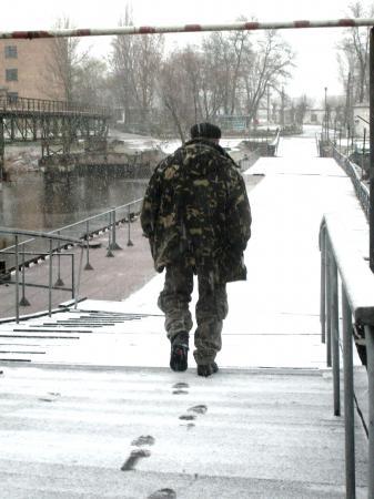 Tchernobyl Pripyat Soldat sur l'écluse