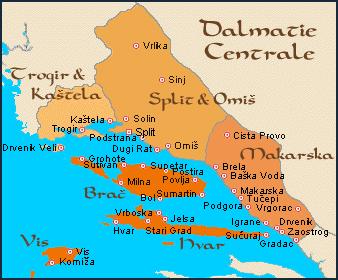 carte dalmatie centrale
