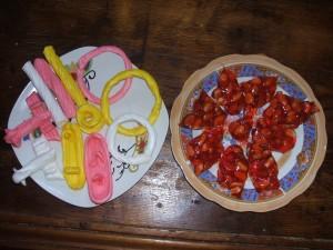 le nougat et différentes formes de bonbons
