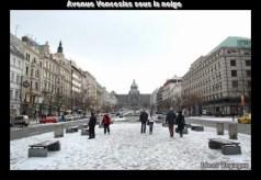 avenue venceslas sous la neige prague