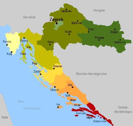 carte croatie regions