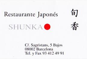 Shunka Restaurant japonais Barcelone