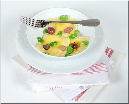 ravioli ricotta citron feves et olives