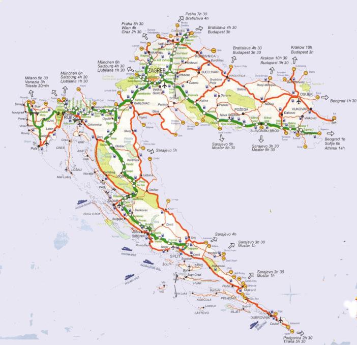 carte croatie route autoroute