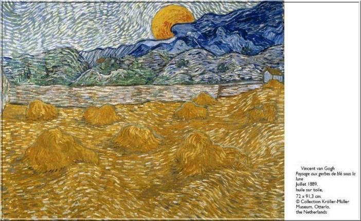 Van Gogh Paysage aux gerbes de ble sous la lune