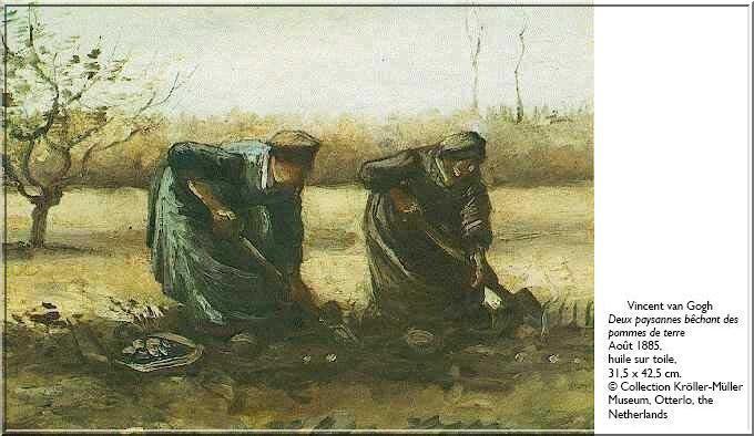 Van gogh deux paysannes bechant des pommes de terre