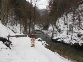 gorges de vintgar slovenie La barrière interdisant l'accès aux gorges l'hiver