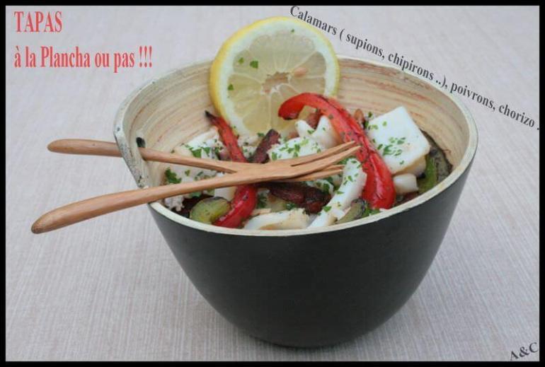 Calamars à la plancha aux poivrons et chorizo