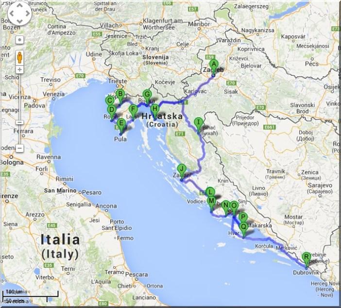 itineraire croatie zagreb istrie dalmatie
