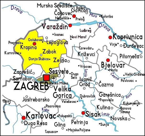 egion krapina Carte-Croatie-Centrale