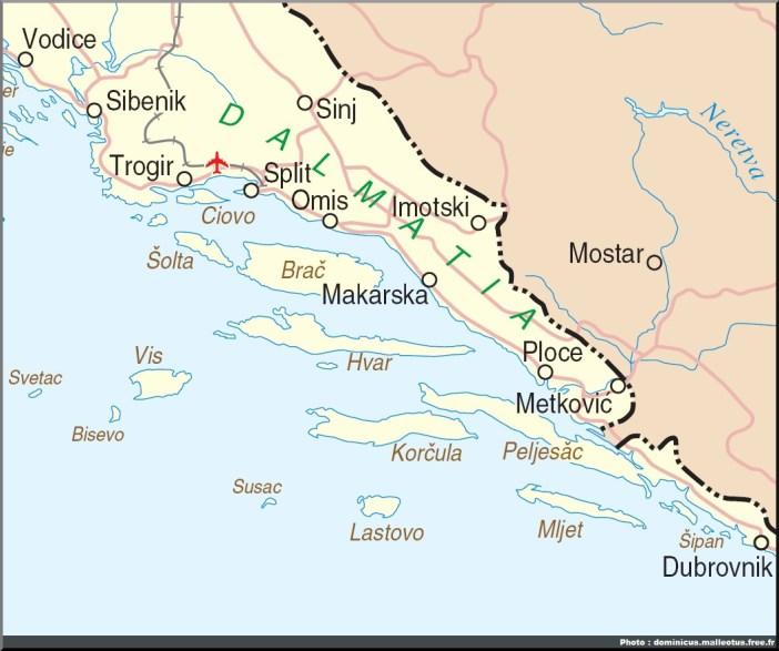 carte croatie dalmatie centrale