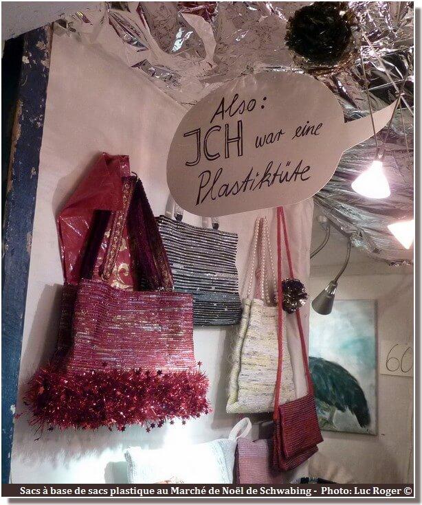 Schwabing Marché de Noël de Munich sacs réalisés avec des sacs en plastique