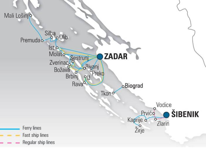 Carte ferry en Croatie depuis zadar