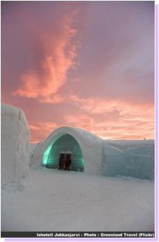 Ishotell Jukkasjarvi Hotel de glace coucher de soleil