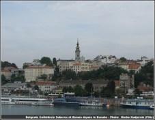 belgrade zenum et cathédrale saborna depuis le danube