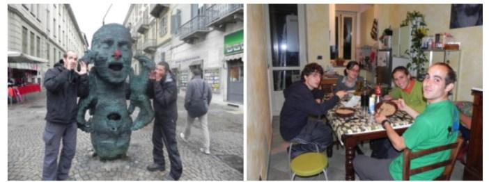 dans la rue à Torino et chez Mara et Marta