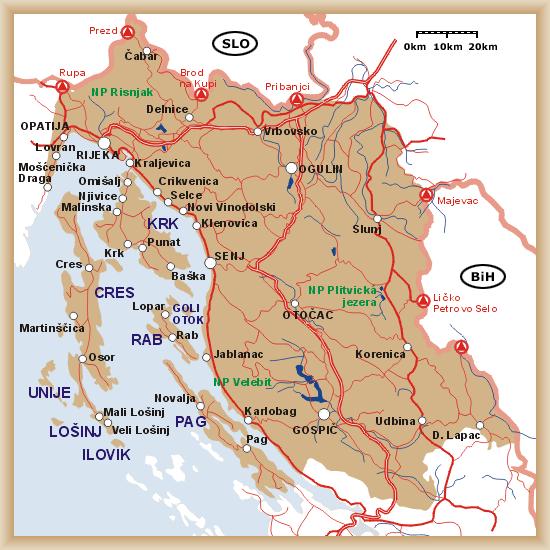 croatie carte kvarner
