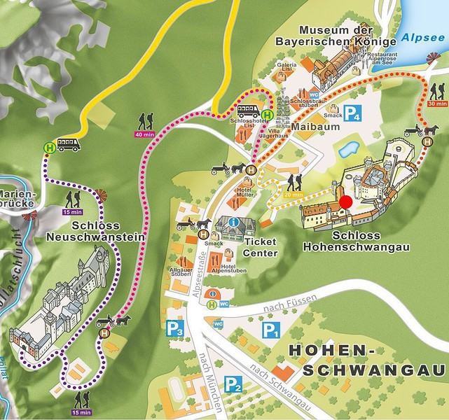 carte Schwangau chateau Neuschwanstein Hohenschwangau