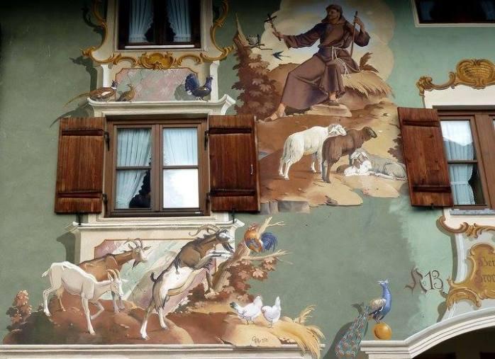mittenwald façade peinte représentant des chèvres