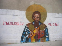 tag orthodoxe pres d'une ecole