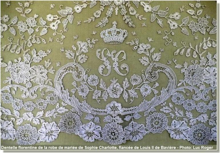 dentelle florentine de la robe de mariée de sophie charlotte de baviere
