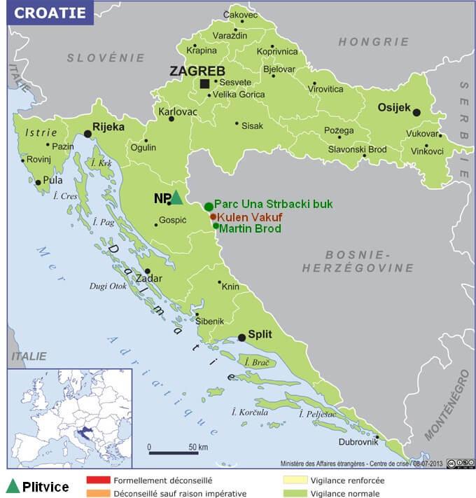 Carte Croatie Plitvice Parc Una strbacki buk martin brod (1)