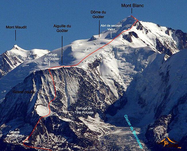Mont Blanc itineraire via tete rousse et refuge du gouter