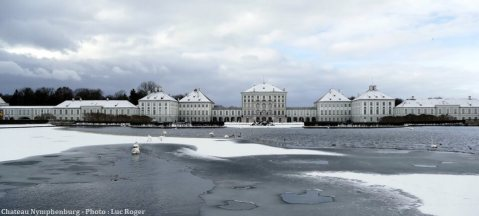 Panorama du Chateau Nymphenburg en hiver à Munich