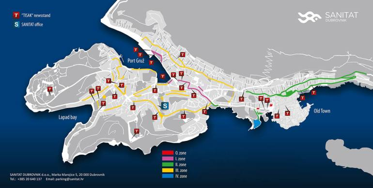 Dubrovnik parking zones de paiement