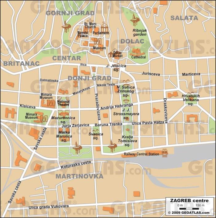 Zagreb carte centre historique