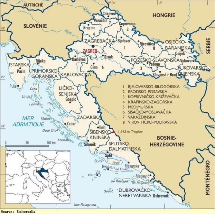 carte administrative régions croatie