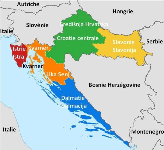 Croatie carte des regions touristiques