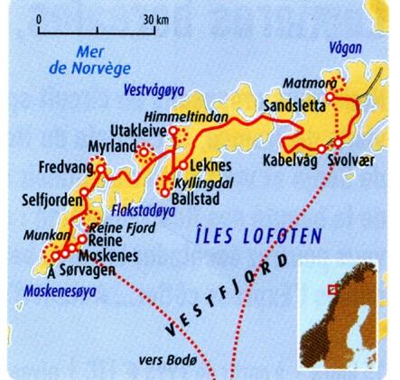 carte randonnée iles lofoten