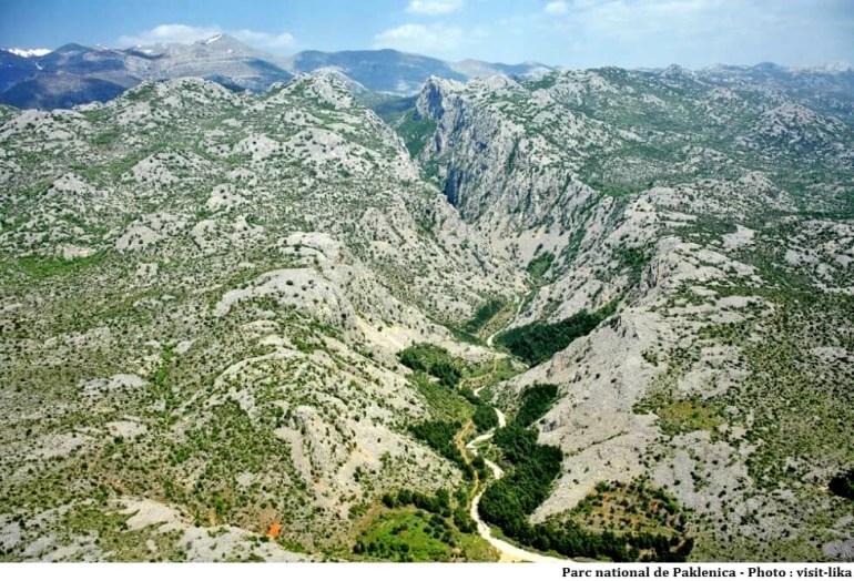 Parc national Paklenica vue aérienne